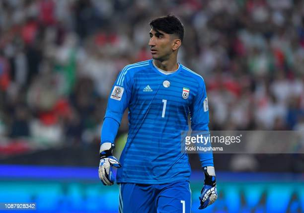 Alireza Beiranvand of Iran during the AFC Asian Cup quarter final match between China and Iran at Mohammed Bin Zayed Stadium on January 24 2019 in...