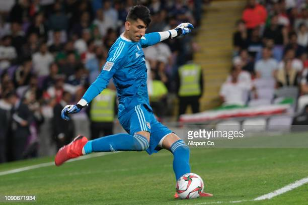 Alireza Beiranvand of Iran kicks during the AFC Asian Cup semi final match between Iran and Japan at Hazza Bin Zayed Stadium on January 28 2019 in Al...