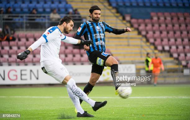 Alireza Haghighi goalkeeper of Athletic FC Eskilstuna comp Alexander Nilsson of IK Sirius FK during the Allsvenskan match between Athletic FC...