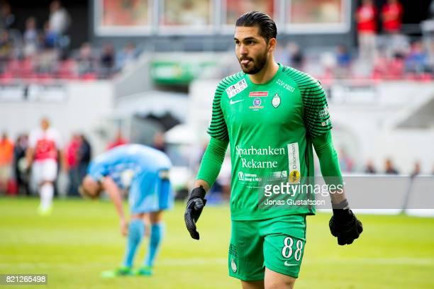 Alireza Haghighi goalkeeper of Athletic FC Eskilstuna during the Allsvenskan match between Kalmar FF and Athletic FC Eskilstuna at Guldfageln Arena...