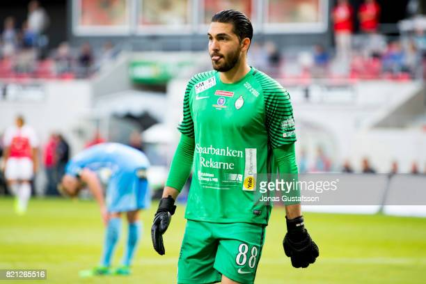 Alireza Haghighi goalkeeper of Athletic FC Eskilstuna during the Allsvenskan match between Kalmar FF and Athletic FC Eskilstuna at Guldfageln Arena...