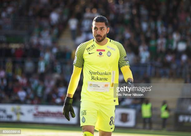 Alireza Haghighi goalkeeper of Athletic FC Eskilstuna during the Allsvenskan match between Athletic FC Eskilstuna and Hammarby IF on August 26 2017...