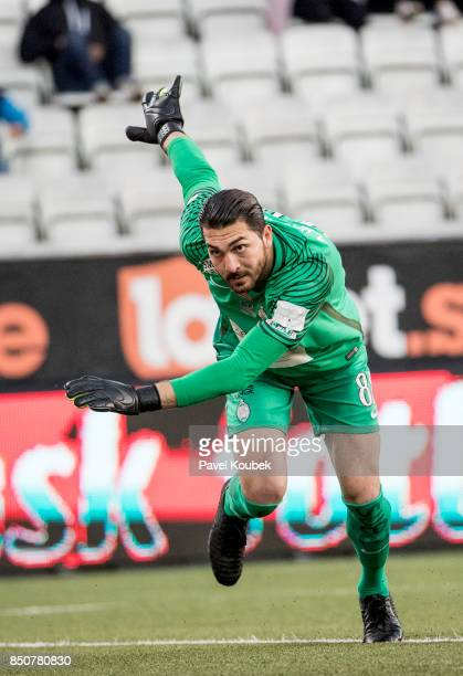 Alireza Haghighi goalkeeper of Athletic FC Eskilstuna during the Allsvenskan match between Orebro SK Athletic FC Eskilstuna at Behrn Arena on...