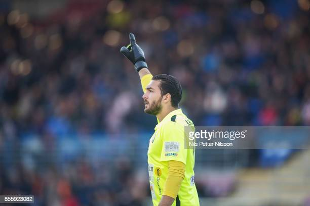 Alireza Haghighi goalkeeper of Athletic FC Eskilstuna during the Allsvenskan match between Athletic FC Eskilstuna and Jonkopings Sodra IF at...