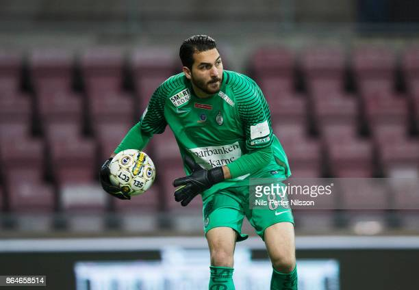 Alireza Haghighi goalkeeper of Athletic FC Eskilstuna during the Allsvenskan match between Athletic FC Eskilstuna and IF Elfsborg at Tunavallen on...