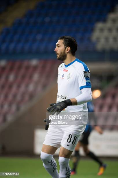Alireza Haghighi goalkeeper of Athletic FC Eskilstuna during the Allsvenskan match between Athletic FC Eskilstuna and IK Sirius FK at Tunavallen on...