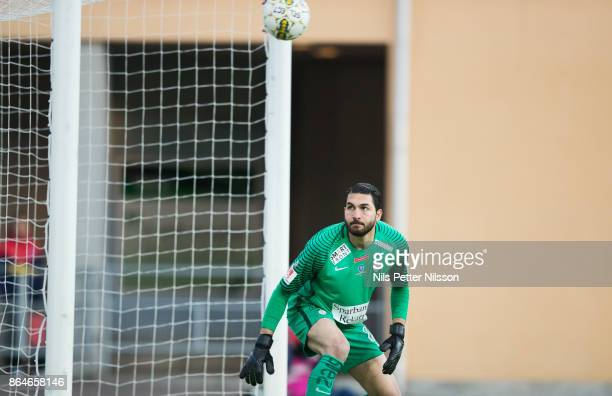 Alireza Haghighi goalkeeper of Athletic FC Eskilstuna looks on as the ball hits the net from a free kick from Issam Jebali of IF Elfsborg to make it...