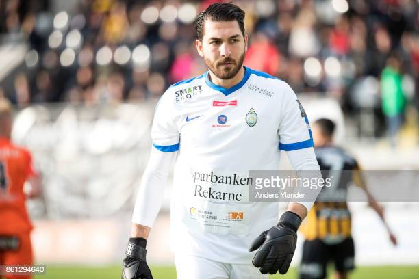 Alireza Haghighi goalkeeper of Athletic FC Eskilstuna looks on during the Allsvenskan match between BK Hacken and Athletic FC Eskilstuna at Bravida...
