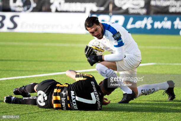 Alireza Haghighi goalkeeper of Athletic FC Eskilstuna reacts after a tackle from Ahmad Yasin of BK Hacken during the Allsvenskan match between BK...
