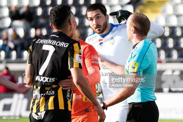 Alireza Haghighi goalkeeper of Athletic FC Eskilstuna reacts during the Allsvenskan match between BK Hacken and Athletic FC Eskilstuna at Bravida...