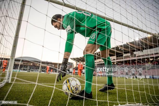 Alireza Haghighi goalkeeper of Athletic FC Eskilstuna retrieves the ball from the net during the Allsvenskan match between Orebro SK Athletic FC...