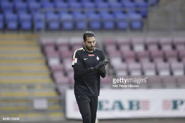 Alireza Haghighi goalkeeperof Athletic FC Eskilstuna ahead of the Allsvenskan match between Athletic FC Eskilstuna and GIF Sundsvall at Tunavallen on...