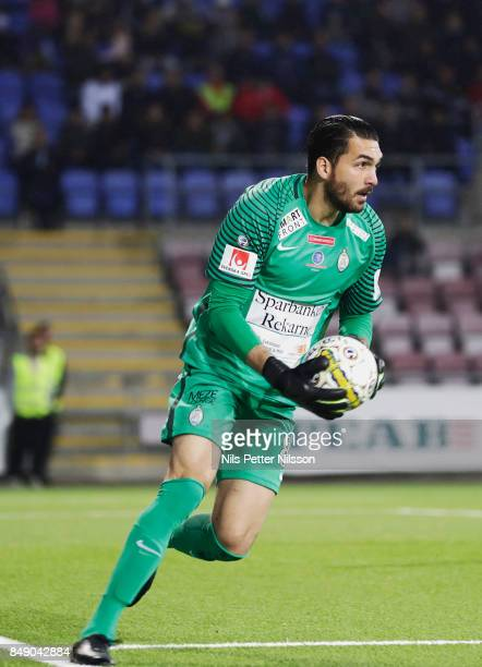 Alireza Haghighi goalkeeperof Athletic FC Eskilstuna during the Allsvenskan match between Athletic FC Eskilstuna and GIF Sundsvall at Tunavallen on...