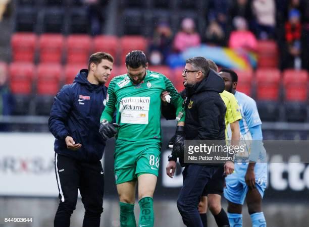 Alireza Haghighi goalkeeperof Athletic FC Eskilstuna injured during the Allsvenskan match between Ostersunds FK and Athletic FC Eskilstuna at...