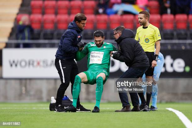 Alireza Haghighi goalkeeperof Athletic FC Eskilstuna injured during the Allsvenskan match between Ostersunds FK and Athletic FC Eskilstuna at...