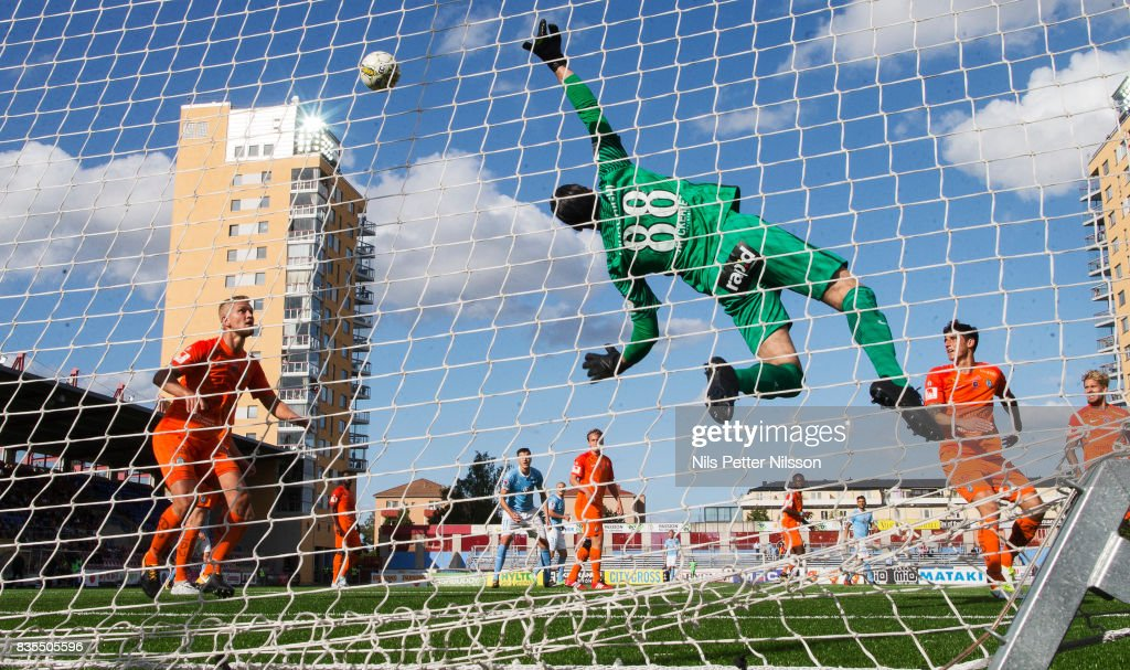 Alireza Haghighi, goalkeeperof Athletic FC Eskilstuna makes a save during the Allsvenskan match between Athletic FC Eskilstuna and Malmo FF at Tunavallen on August 19, 2017 in Eskilstuna, Sweden.