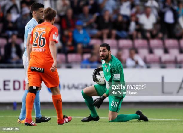 Alireza Haghighi goalkeeperof Athletic FC Eskilstuna makes a save during the Allsvenskan match between Athletic FC Eskilstuna and Malmo FF at...