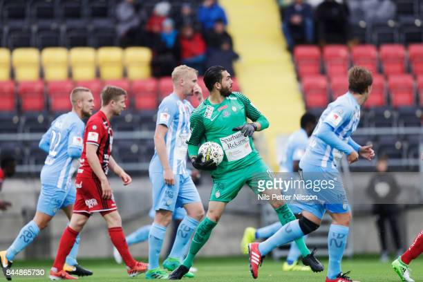 Alireza Haghighi goalkeeperof Athletic FC Eskilstuna makes a save during the Allsvenskan match between Ostersunds FK and Athletic FC Eskilstuna at...
