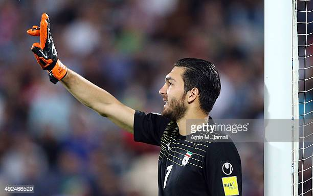 Alireza Haghighi looks on during the international friendly match between Iran and Japan at Azadi Stadium on October 13 2015 in Tehran Iran