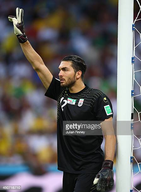 Alireza Haghighi of Iran gestures during the 2014 FIFA World Cup Brazil Group F match between Iran and Nigeria at Arena da Baixada on June 16 2014 in...