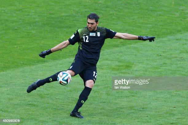 Alireza Haghighi of Iran kicks the ball during the 2014 FIFA World Cup Brazil Group F match between Argentina and Iran at Estadio Mineirao on June 21...