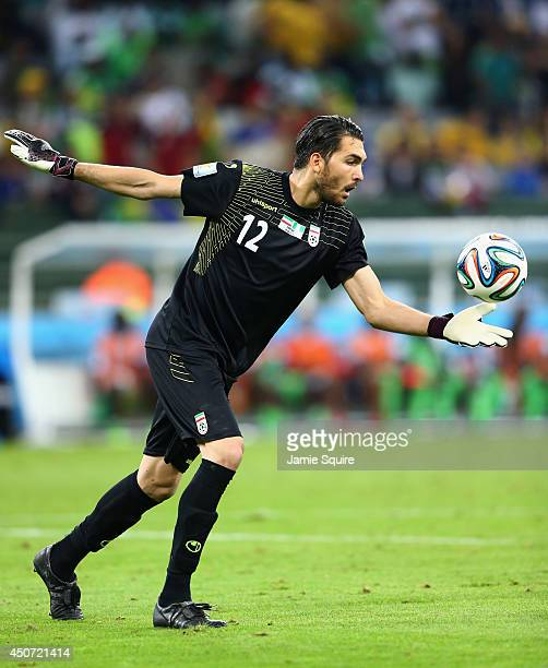 Alireza Haghighi of Iran punts the ball during the 2014 FIFA World Cup Brazil Group F match between Iran and Nigeria at Arena da Baixada on June 16...