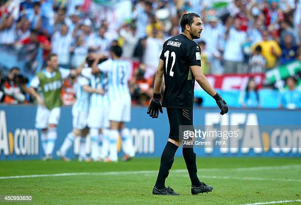 Alireza Haghighi of Iran shows his dejection after conceding the first goal to Argentina during the 2014 FIFA World Cup Brazil Group F match between...