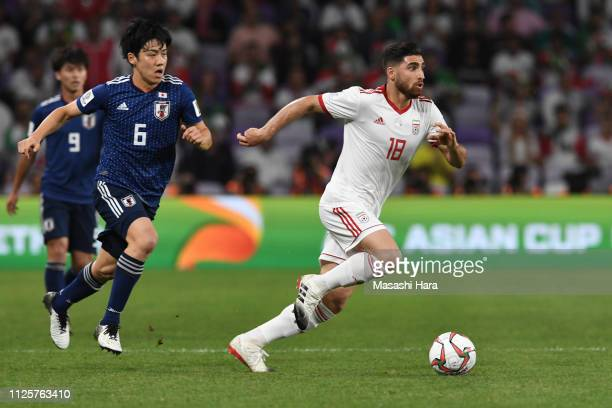Alireza Jahan Bakhsh Jirandeh of Iran in action during the AFC Asian Cup semi final match between Iran and Japan at Hazza Bin Zayed Stadium on...