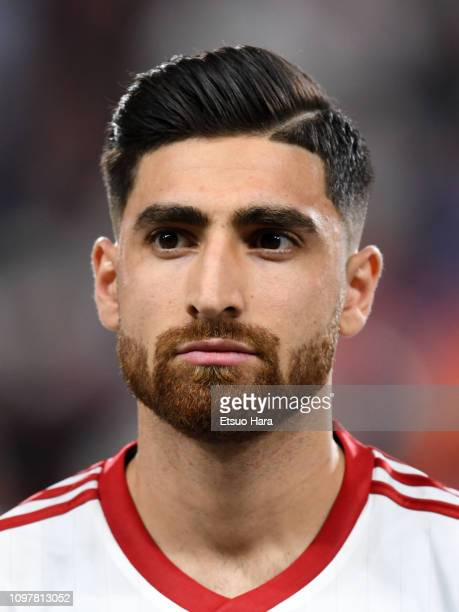 Alireza Jahan Bakhsh Jirandeh of Iran looks on prior to the AFC Asian Cup round of 16 match between Iran and Oman at Mohammed Bin Zayed Stadium on...