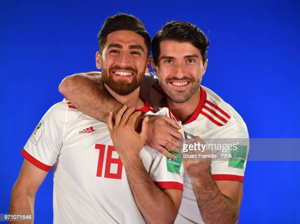 Alireza Jahanbakhsh and Karim Ansarifard of Iran poses for a picture during the official FIFA World Cup 2018 portrait session at on June 9 2018 in...
