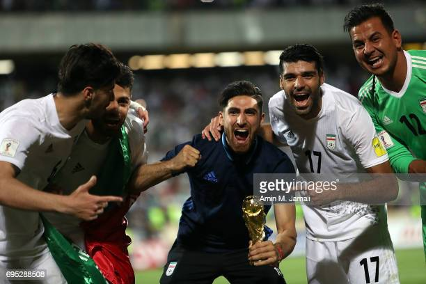 Alireza Jahanbakhsh and players of Iran celebrate after the match during FIFA 2018 World Cup Qualifier match between Iran and Uzbekistan at Azadi...