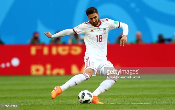 Alireza Jahanbakhsh in action during the 2018 FIFA World Cup Russia group B match between Morocco and Iran at Saint Petersburg Stadium on June 15...