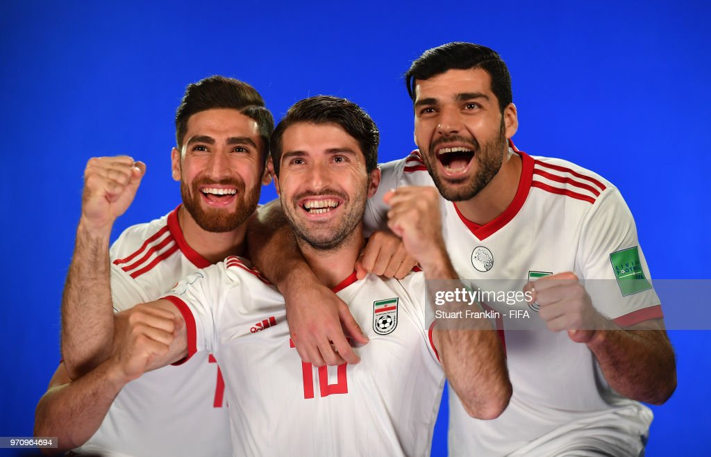 Alireza Jahanbakhsh, Karim Ansarifard and Mehdi Taremi of Iran poses for a picture during the official FIFA World Cup 2018 portrait session at on June 9, 2018 in Moscow, Russia.