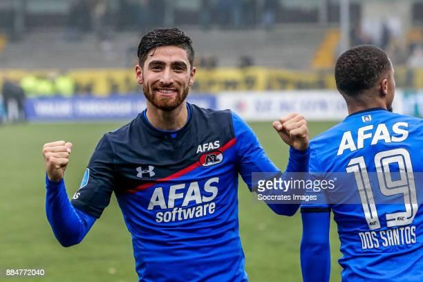 Alireza Jahanbakhsh of AZ Alkmaar celebrates 02 during the Dutch Eredivisie match between VVVvVenlo AZ Alkmaar at the Seacon Stadium De Koel on...