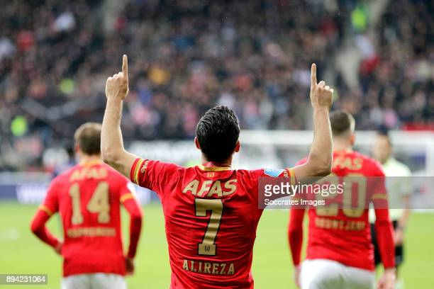 Alireza Jahanbakhsh of AZ Alkmaar celebrates 10 during the Dutch Eredivisie match between AZ Alkmaar v Ajax at the AFAS Stadium on December 17 2017...