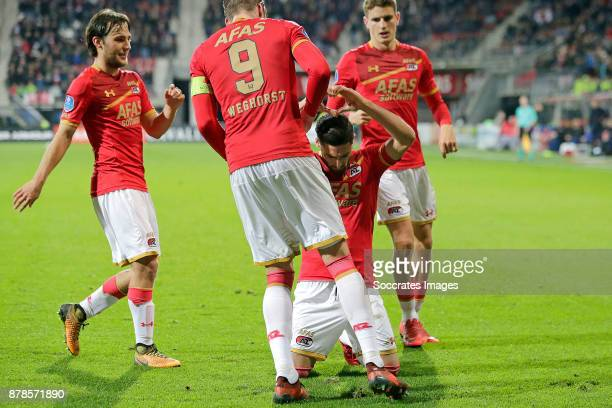 Alireza Jahanbakhsh of AZ Alkmaar celebrates 10 with Joris van Overeem of AZ Alkmaar Wout Weghorst of AZ Alkmaar Guus Til of AZ Alkmaar during the...