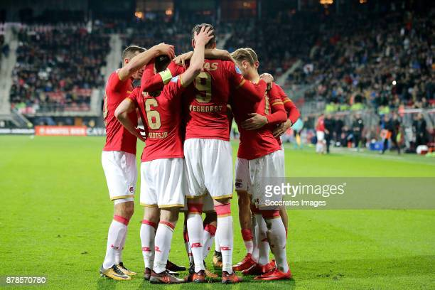 Alireza Jahanbakhsh of AZ Alkmaar celebrates 10 with Mats Seuntjens of AZ Alkmaar Fredrik Midtsjo of AZ Alkmaar Wout Weghorst of AZ Alkmaar Fredrik...