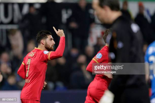 Alireza Jahanbakhsh of AZ Alkmaar celebrates 11 during the Dutch Eredivisie match between PEC Zwolle v AZ Alkmaar at the MAC3PARK Stadium on December...