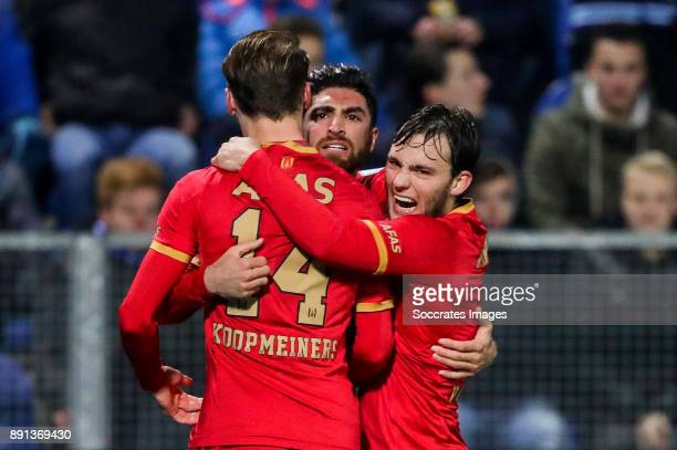 Alireza Jahanbakhsh of AZ Alkmaar celebrates 11 with Teun Koopmeiners of AZ Alkmaar Joris van Overeem of AZ Alkmaar during the Dutch Eredivisie match...