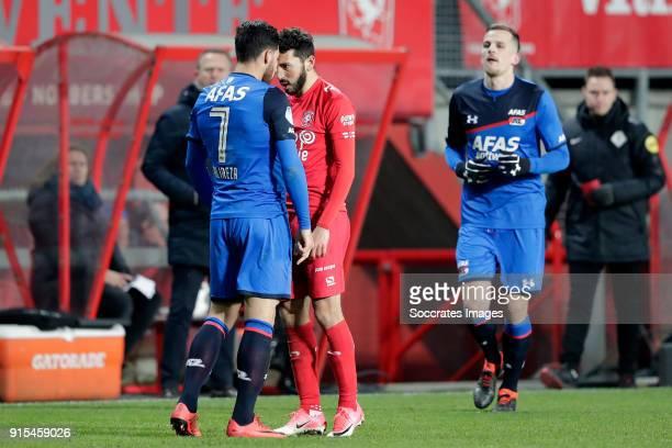 Alireza Jahanbakhsh of AZ Alkmaar Cristian Cuevas of FC Twente during the Dutch Eredivisie match between Fc Twente v AZ Alkmaar at the De Grolsch...