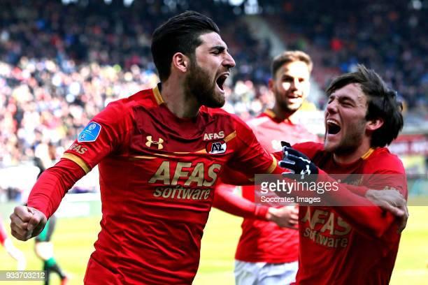 Alireza Jahanbakhsh of AZ Alkmaar Joris van Overeem of AZ Alkmaar during the Dutch Eredivisie match between AZ Alkmaar v FC Groningen at the AFAS...