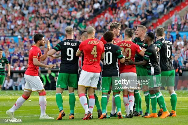 Alireza Jahanbakhsh of AZ Alkmaar Nicolai Jorgensen of Feyenoord Ron Vlaar of AZ Alkmaar Tonny Vilhena of Feyenoord Wout Weghorst of AZ Alkmaar Mats...
