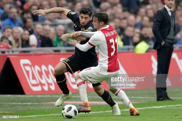 Alireza Jahanbakhsh of AZ Alkmaar Nicolas Tagliafico of Ajax during the Dutch Eredivisie match between Ajax v AZ Alkmaar at the Johan Cruijff Arena...