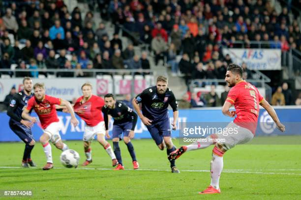 Alireza Jahanbakhsh of AZ Alkmaar scores his sideÕs first goal to make it 10 during the Dutch Eredivisie match between AZ Alkmaar v Fc Twente at the...