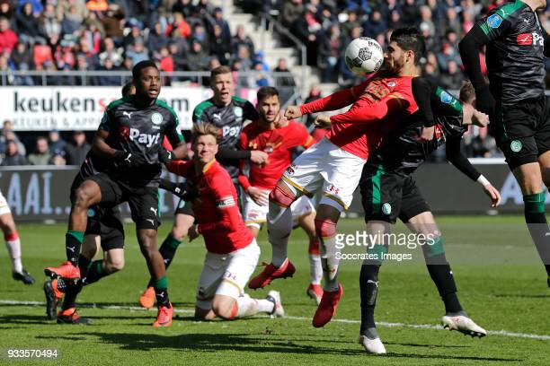 Alireza Jahanbakhsh of AZ Alkmaar scores the fifth goal to make it 32 during the Dutch Eredivisie match between AZ Alkmaar v FC Groningen at the AFAS...