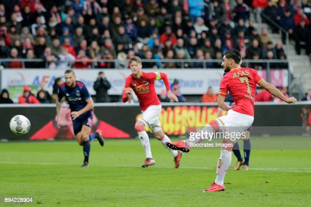 Alireza Jahanbakhsh of AZ Alkmaar scores the first goal to make it 10 during the Dutch Eredivisie match between AZ Alkmaar v Ajax at the AFAS Stadium...