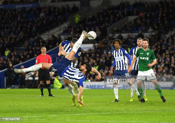 Alireza Jahanbakhsh of Brighton and Hove Albion attempts an overhead kick during the FA Cup Third Round match between Brighton and Hove Albion and...