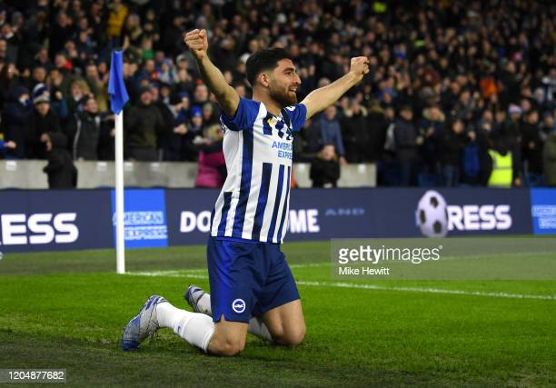 Alireza Jahanbakhsh of Brighton and Hove Albion celebrates after Adrian Mariappa of Watford scored an own goal which resulted in the first goal for...