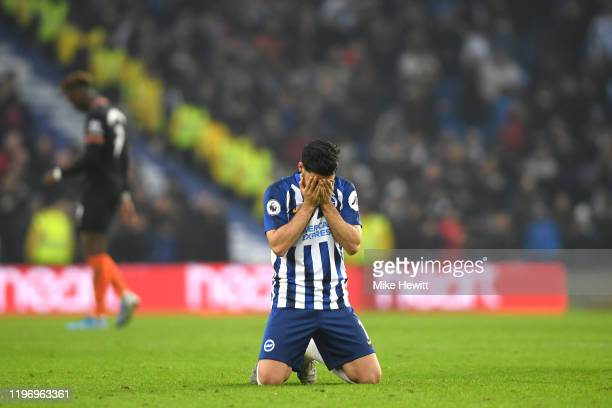 Alireza Jahanbakhsh of Brighton and Hove Albion celebrates at fulltime after the Premier League match between Brighton Hove Albion and Chelsea FC at...