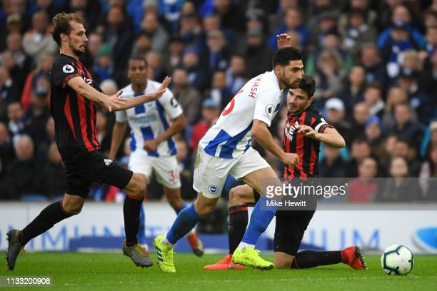Alireza Jahanbakhsh of Brighton and Hove Albion runs with the ball during the Premier League match between Brighton Hove Albion and Huddersfield Town...